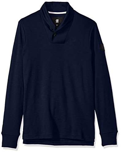 G-Star Raw Men's poult Shawl Collar Pullover, Imperial Blue/Black, Medium