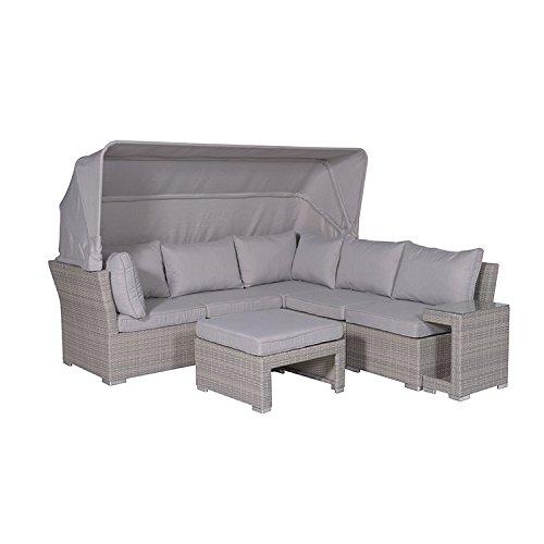 "Garden Impressions Lounge Set, ""KUBA"" Poly Rattan Gruppe mit Sonnendach, Sitzgruppe / Strandkorbflair -Kunsttoff, shadow grau, 226x221x158 cm, 06498SO"