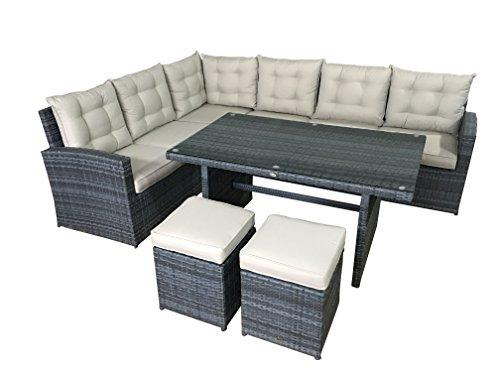 Garten Lounge Set La Palma in grau Sitzecke aus Polyrattan Sitzgruppe