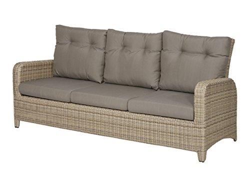 Gartenbank 3 Sitzer aus Polyrattan Geflecht beige inkl. Kissen in grau. Die Loungebank ist wetterfest, ideal für Garten, Terrasse und Balkon.