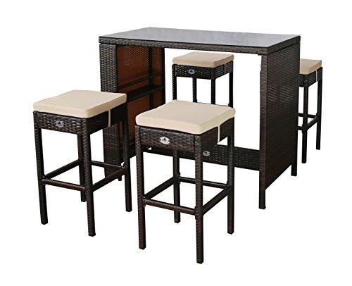 Gartenfreude Polyrattan Sitztheke mit 4 Hockern, Glasplatte 133 x 68 x 111cm, Hocker 42 x 42 x 75 cm