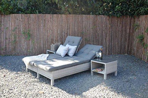 Gartenliege aus Polyrattan Geflecht grau, verstellbar inkl. Auflage. Die klappbare Doppelliege ist wetterfest, ideal für Garten, Terrasse und Balkon.