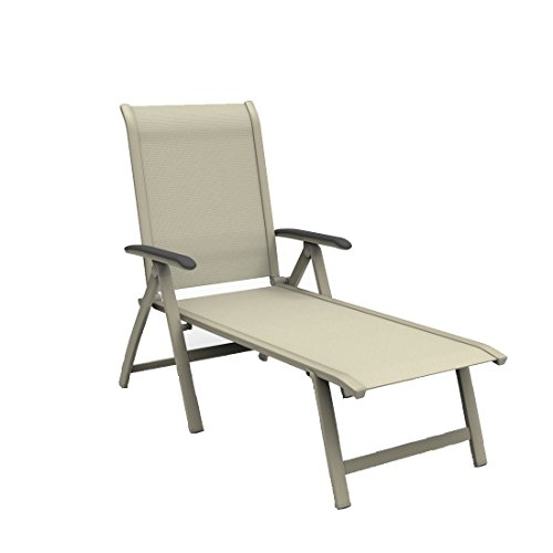 Gartenliege klappbar MWH Elo Sonnenliege Alu/Textilene Peyote/Natur Klappliege Terrassenliege Balkonliege wetterfest Outdoor