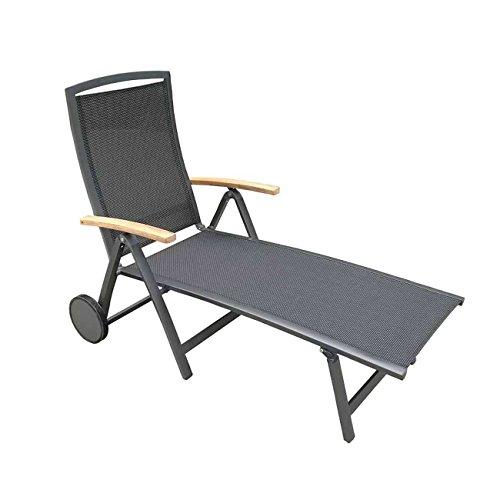 Gartenliege wetterfest OUTLIV. Leeds Rollliege Aluminium/Textilene Teakarmlehnen Sonnenliege Outdoor Liege Terrassenliege Balkonliege