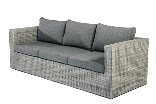 Gartenmöbel Gartensofa Loungesofa ILLIAS Polyrattan 3-Sitzer
