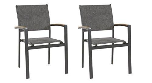 Gartenstuhl 2er Set (stapelbar), Alu, Bezug (anthrazit), Wetterfester Metall Garten Stapelstuhl. Ideal auch als Balkon-Stuhl und Terrassenstuhl.