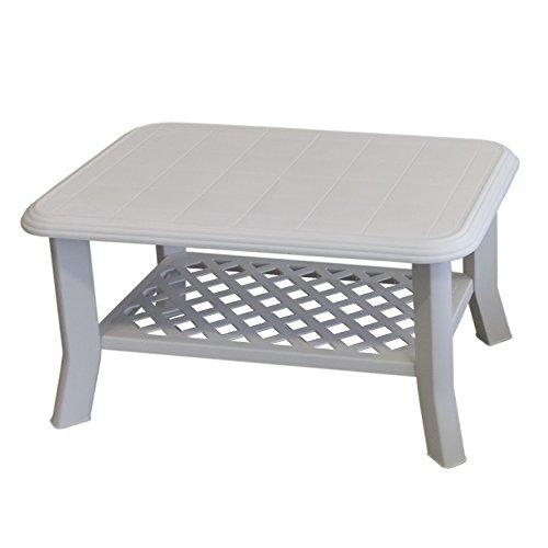 Gartentisch NISO 90x60xH47cm Vollkunststoff / Weiß - Campingtisch Beistelltisch Loungetisch Couchtisch
