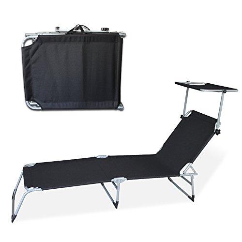 Hengda® Sonnenliege Gartenliege Relaxliege Liege mit Sonnendach Garten Liegestuhl mit Sonnendach, schwarz