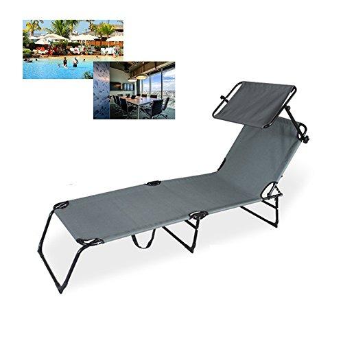 Hengda® Stahl Liege Sonnenliege Strandliege Klappbar Gartenliege Liegestuhl Mit Sonnendach