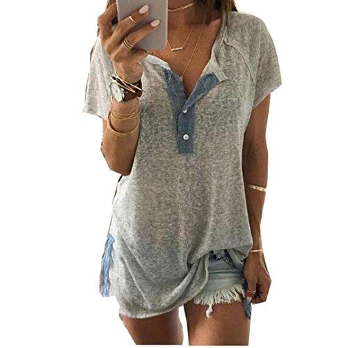 Hevoiok Damen Kurzarm-Shirt Oberteile Sexy Knopf Bluse Neu Frühling Sommer T Shirt Frauen Casual Locker Tanktops