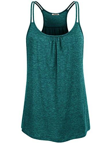 Hibelle Damen O-Neck Stretch Sport Top Cute Racerback Yoga Workout Sommer Shirts