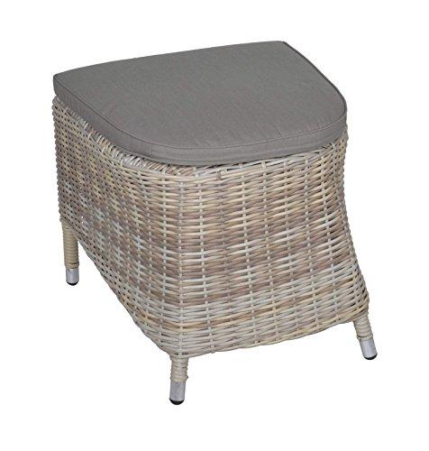 Hocker aus Polyrattan in beige mit Sitzkissen für Terrasse oder Garten. Variabel einsetzbar als Fußbank, Beistellhocker durch Auflagekissen.