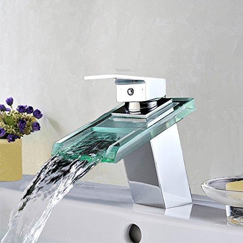 Homelody Wasserfall Wasserhahn bad mit Glasauslauf Waschtich Waschbecken Armatur Einhebelmischer Waschtischarmatur Mischbatterie Badarmatur für Bad