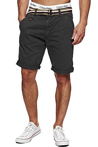 Indicode Herren 70-039S Cuba Chinoshorts Shorts kurze Hose mit Gürtel