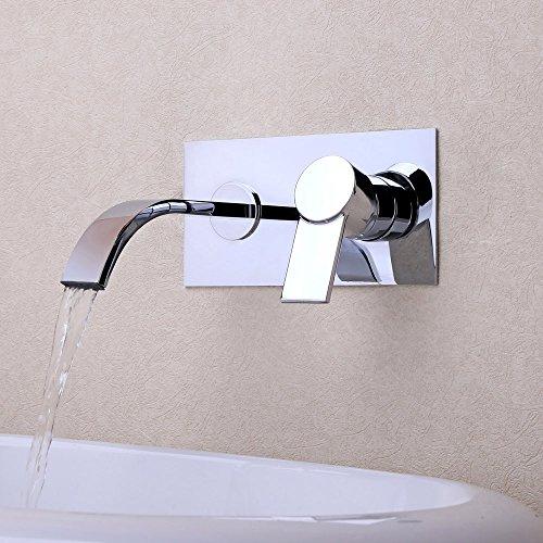 JiaYouJia Moderner Wandbefestigung Messing Zwei Hole Wasserfall Waschtischarmatur Waschbeckenarmatur Badarmatur Küche, Chrom