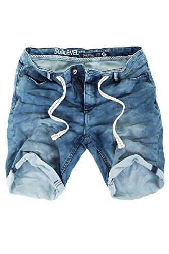 Jogg Jeans Shorts Herren Sublevel Kurze Hose Denim Sommer Jogger Bermuda Chino