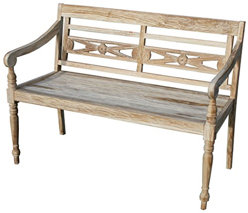 "KMH®, Teak 2-sitzer Gartenbank ""Harry"" (115 cm) im Shabby Chic Stil - whitewashed (#102142)"