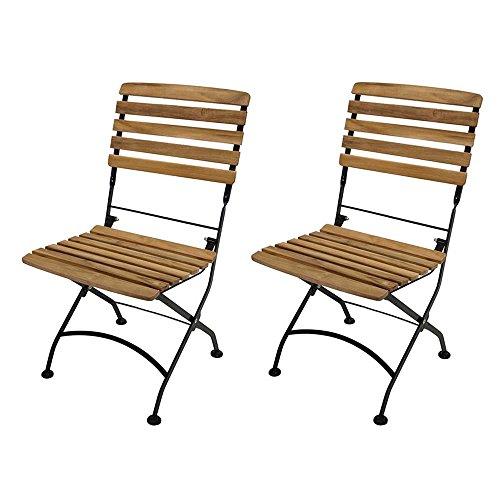 Klappstühle für Balkon Teak Massivholz und Stahl (2er Set) Pharao24