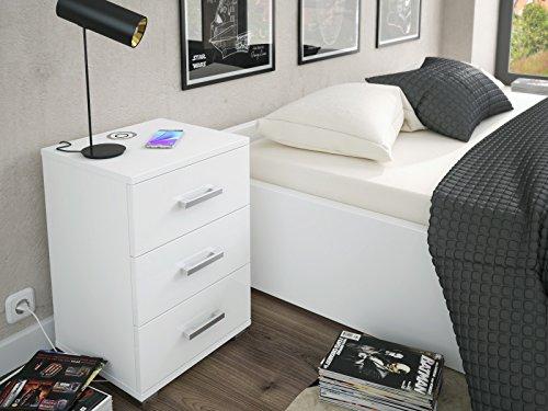 Labi Möbel N3 3 Schubladen mit Induktionsladegerät Schrank Kommode Nachttisch Nachtschrank Nachtkonsole Weiß Hochglanz