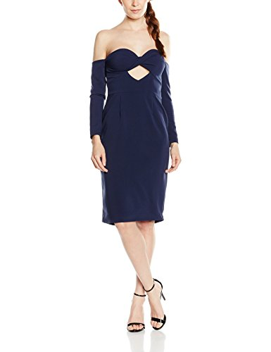 Lavish Alice Damen Kleid Navy Langarm Bandeau Cut-Out Midi Dress