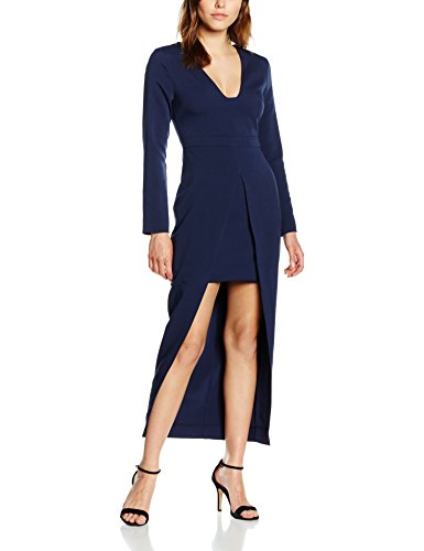 Lavish Alice, Damen Kleid, Navy Plunge Maxi Overlay Langarm Dress
