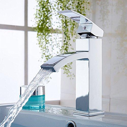 Lonior Mischbatterie Wasserfall Wasserhahn Bad Armatur Einhebelmischer Badarmatur Chrome Waschtischarmatur Einhebel Waschbeckenarmatur mit 60cm Schläuche Waschtischbatterie für Badezimmer