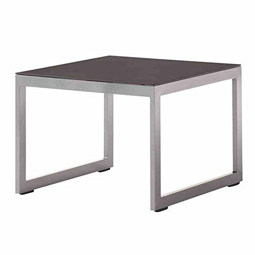 Lounge-Tisch Melbourne graphit, mit Glasplatte eisengrau, ca. 60x60 cm