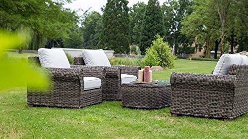 Loungeset, Loungemöbel, Gartenlounge, Gartenloungemöbel, Rattanlounge Gartensitzgruppe, Gartengarnitur, Rattan, Aluminium, Auflagen, braun