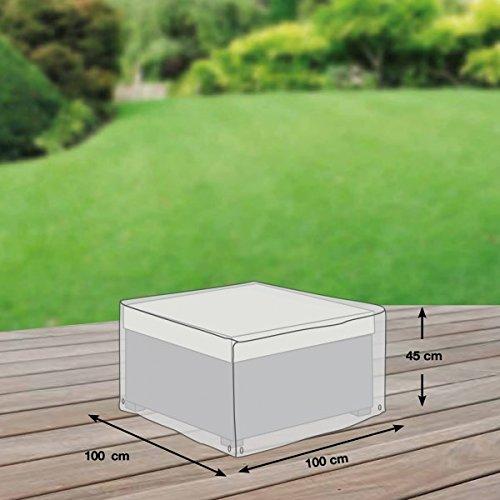 Loungetisch Abdeckung / Schutzhülle für Gartenmöbel - Premium Plus Leicht (100 x 100 x 45 cm) wasserdicht, winterfest, atmungsaktiv - Abdeckplane für Gartentisch / Ultraleicht / UV- & Frostbeständig