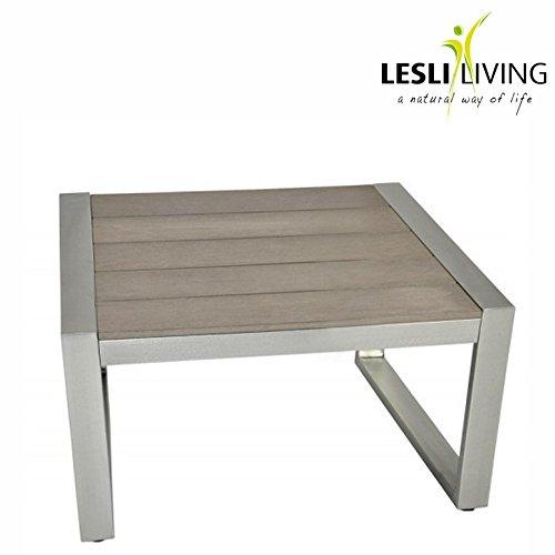 Loungetisch Bassano 49x49x38cm Polywood grau Aluminium gebürstet Gartentisch