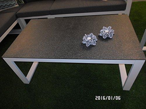 Loungetisch Pina Colada Alu Gestell hellgrau Spraystone Tischplatte 130 cm