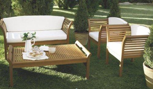 MALAGA: Loungeset 4-teilig, Eukalyptus geölt, mit Polstern creme, FSC®-zertifiziert