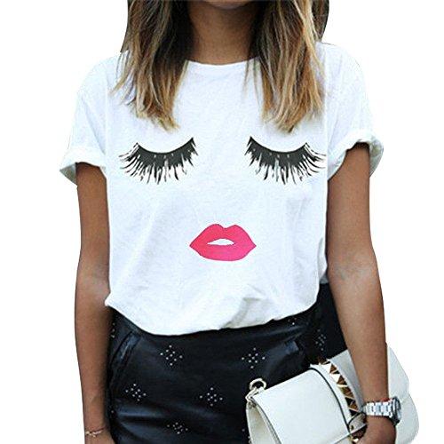 Mangotree Frauen Lip Wimpern Printed Kurzarm T-Shirt Mode Damen Mädchen Weiße Kurze Hülse Tops