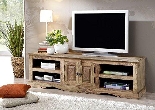 Massiv Holz Kolonialart Möbel Sheesham geölt TV-Board Palisander grau Massivmöbel grau LEEDS #48