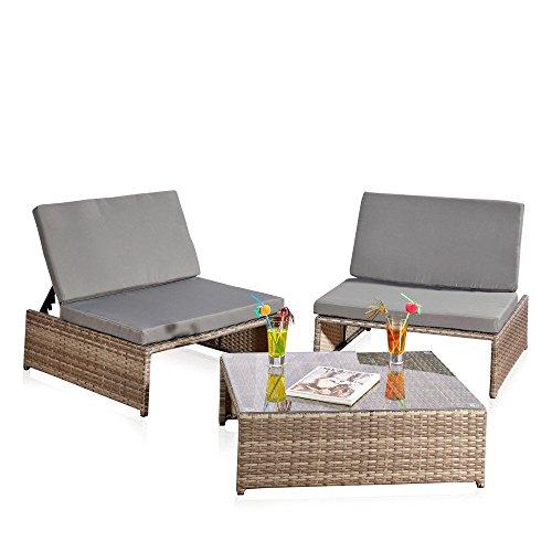 Melko® Gartenset, Poly Rattan, Lounge Sitz-Garnitur mit Glastisch, inklusive Kissen, mehrteilig verschiedene Farben (Graun)