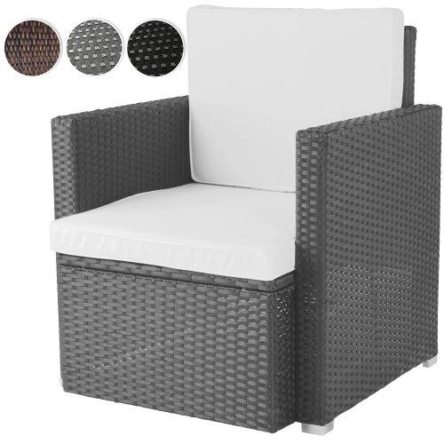 Miadomodo Bequemer Loungesessel aus Polyrattan Gartenmöbel inkl. Sitzkissen -Farbwahl- Gartensessel