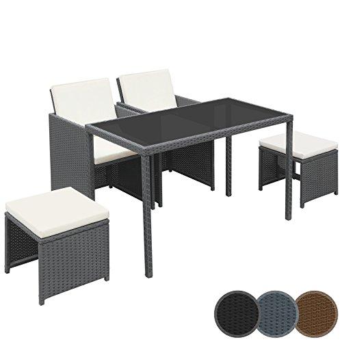 Miadomodo Polyrattan Essgruppe Sitzgruppe Gartenmöbel 5-teilig in der Farbe nach Ihrer Wahl