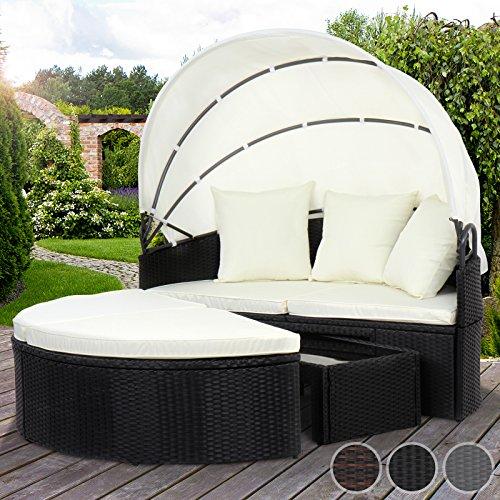 Miadomodo Polyrattan Sonneninsel Sonnenliege Lounge Gartenmöbel mit aufklappbarem Dach und Tisch (75/45/27 cm) mit Farbwahl