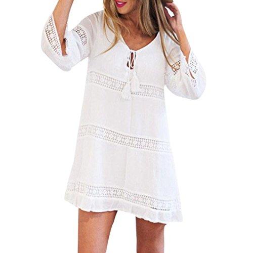 Minikleid Damen, Sunday Frauen Sommer Hülse mit drei Vierteln lose Spitze Boho Beach Short Mini Dress