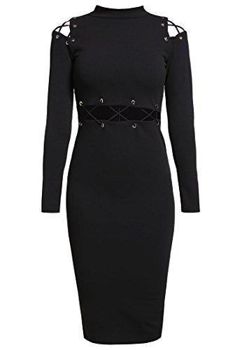 Missguided Damen Kleid Abendkleid Cocktailkleid Jerseykleid Schwarz Gr.38