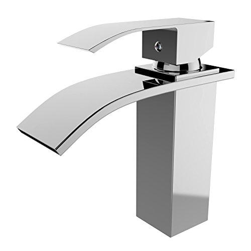 NAKEY Badarmatur - Waschtischarmatur Wasserfall Wasserhahn Bad Waschbecken,chrom