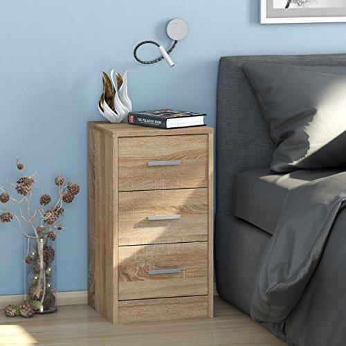 Nachtkommode MAJA MÖBEL mit 3 Schubladen / Nachttisch in 5 verschiedenen Dekoren - 37x68x35cm Kommode