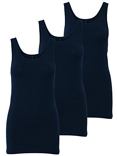 ONLY 3er Pack Damen Oberteile Basic Tank Tops Weiß, Schwarz, Grau, Blau, Creme Frauen Shirt in Verschiedenen Farben Lang Sommer Shirts Top Gratis Wäschenetz B46
