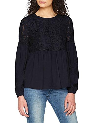 ONLY Damen Bluse Onluna L/S Laceblock Top Wvn