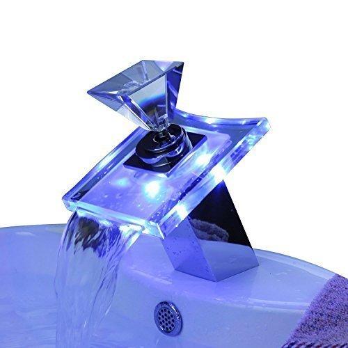 Ouku Badarmaturen mit Farbwechsel LED Wasserfall Waschbecken Wasserhähne Glasgriff wasserhahn bad badarmaturen badezimmerarmaturen armaturen badezimmer badmöbel glaswaschtische
