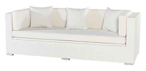 Outflexx 3-Sitzer Sofa, inklusive Polster und Kissenbox funktion, Polyrattan, Weiß, 1085 x 68 x 20 cm
