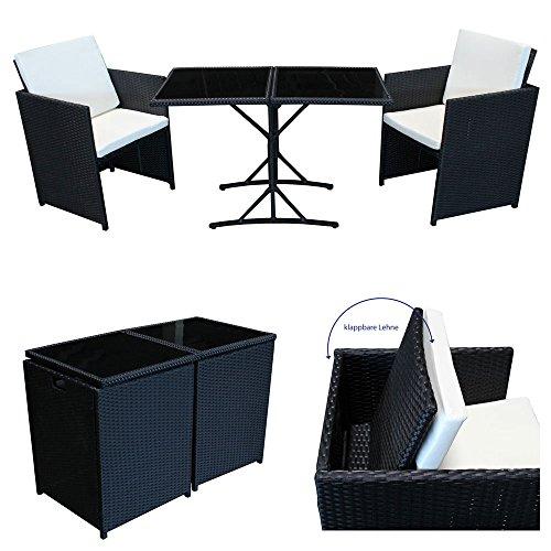 POLY RATTAN Sitzgruppe Essgruppe Set - Cube Sofa-Garnitur Gartenmöbel Lounge Farbwahl