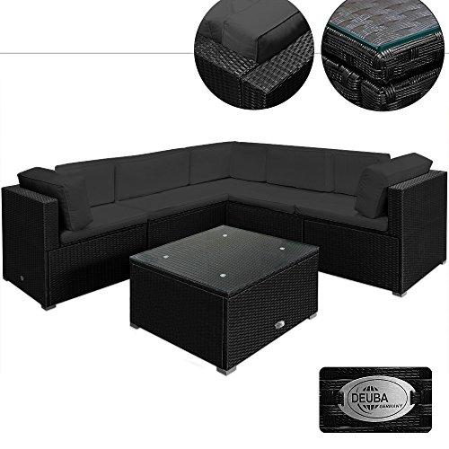 Poly Rattan Lounge Set XXL Schwarz | 15cm dicke Rückenkissen Anthrazit | bequeme Armlehnen | UV-beständiges Polyrattan | Tisch inkl. Glasplatte - Sitzgarnitur Couch Sitzgruppe Gartenmöbel Gartenlounge