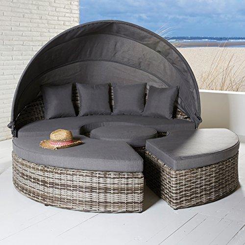 Poly Rattan Sonneninsel Gartenmöbel Strandkorb Strandmuschel in braun 4 teilig