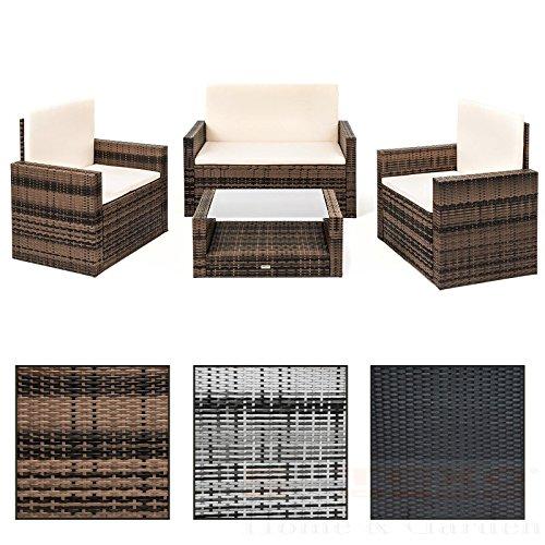 Polyrattan Sitzgruppe Rattan Lounge Set 4 Personen in grau, braun oder schwarz